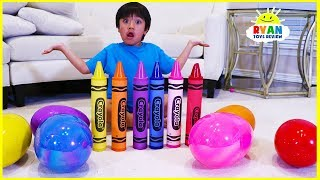 Download Ryan Learn colors with Giant Crayons and opens huge surprise eggs with toys Video