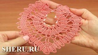 Download Crochet Brugge Heart Motif Lace Урок 8 часть 1 из 2 Сердце в технике брюггского кружева Video