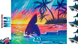 Download Tropical Paradise Sunset With shark Fin Acrylic painting Beginners Tutorial #sharkweek Video