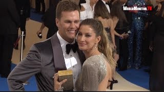 Download Model Gisele Bundchen and Tom Brady arrive at 2017 Met Gala Video