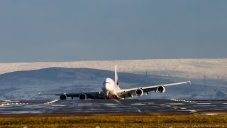 Download A380 dramatic crosswind landing on friday13th in the snow on 23R manchester Video
