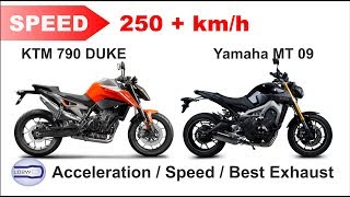 Download 2018 KTM 790 Duke vs Yamaha MT 09 / Acceleration, Top Speed 250+ km/h, Ride and Exhaust Video