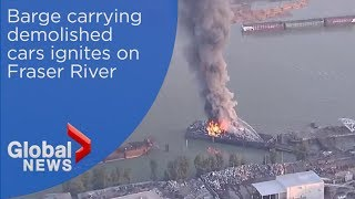 Download Massive fire breaks out on BC barge carrying wrecked cars Video