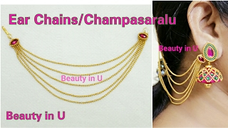 Download Bridal Accessories : Ear Chains / Champasaralu making at Home using Gold Ball Chain | Tutorial Video