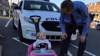Download 8-Month-Old Girl Gets Pulled Over By Police While 'Driving' Toy Car Video