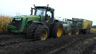 Download John Deere 8530 Working Hard in The Mud During Maize / Corn Chopping | JD 8370R | Häckseln 2017 Video