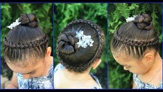 Download Peinado para niñas trenza corona con chongo  Peinados fáciles y rápidos LPH Video