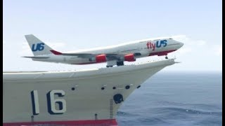 Download GTA 5- Exceptional Landing by Airplane(Jumbo jet) at Fighter ship Video