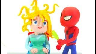 Download Spiderman Brushes Frozen Elsa Hair - Play Doh Cartoons & Superhero Babies Stop Motion Movies Video