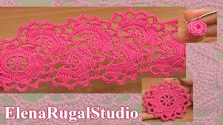 Download Crochet Wide Lace Tape Tutorial 7 Part 1 of 2 Цроцхет Роунд Мотиф Video