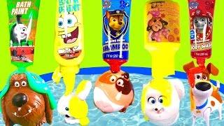 Download The Secret Life of Pets Bubble Bath with Toys & Paw Patrol Spongebob Bath Paint! Video