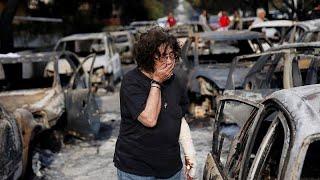 Download Greece fires: Twenty-six people found dead hugging each other in a field Video