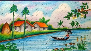 How To Draw Scenery Of Rainy Season Step By Step Easy Draw Free