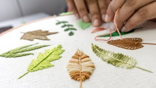 Download HAND EMBROIDERY FOR BEGINNERS: 10 Types of Leaves Video