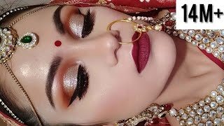 Download Indian BRIDAL MAKEUP Tutorial In HINDI DAY TIME Shimmery Eyes Video