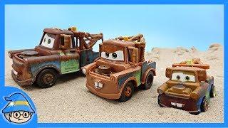 Download Three Tow truck toys of Disney Cars meet the Lightning McQueen. Racing Lightning McQueen. Video