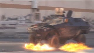 Download Rain of Molotovs: Bahraini protesters batter police armored vehicles with petrol bombs Video