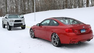Download BMW M4 vs Toyota Tacoma Snow Tow Video