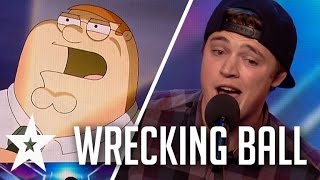 Download Peter Griffin, Elmo & More Sing Wrecking Ball On Britain's Got Talent Video