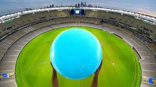 Download CATCHING EXERCISE BALLS with MAGNUS EFFECT from STADIUM ROOF! Video