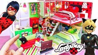 Download DIY MINIATURE Miraculous Ladybug & Chat Noir DOLLHOUSE (Bedrooms, Bathroom, Kitchen, Living Room) Video