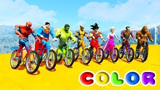 Download FUN LEARN COLORS CRUISE BIKES AND ATV w/ Superheroes 3D Animation Nursery Rhymes for Children Video