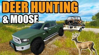 Download FARMING SIMULATOR 2017 + THE HUNTER | WE SHOT A NICE WHITETAIL DEER & DROPPED A NICE MOOSE Video