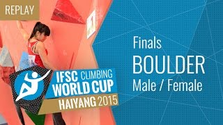 Download IFSC Climbing World Cup Haiyang 2015 - Bouldering - Finals - Male/Female Video