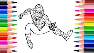 Download ระบายสีสไปเดอร์แมน | Coloring book pages Spider Man. Video