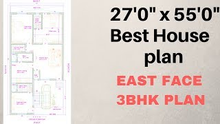 Download 27' x 55' East Face ( 3 BHK ) House Plan Explain In Hindi Video