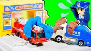 Download はたらくくるま カーキャリアーがスライムで事故発生!? コイン洗車場できれいになろう♪ パトカー ごみ収集車 はしご消防車 トミカタウン おもちゃ アニメ 幼児 子供向け動画 Video
