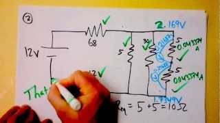 Download Parallel and Series Resistor Circuit Analysis Worked Example using Ohm's Law Reduction | Doc Physics Video