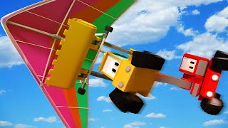 Download The Hang-glider - Tiny Trucks for Kids with Street Vehicles Bulldozer, Excavator & Crane Video