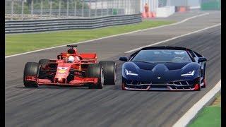 Download Ferrari F1 2018 vs Lamborghini Centenario - Monza Video