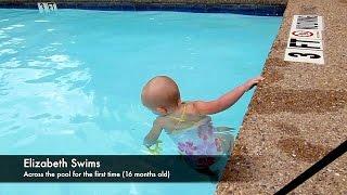 Download Baby Elizabeth Swims Across Pool Video