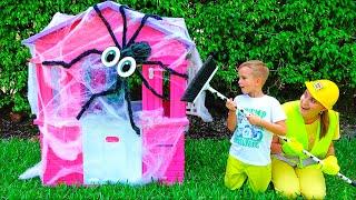 Download Vlad and Mama repairing children's playhouses Video