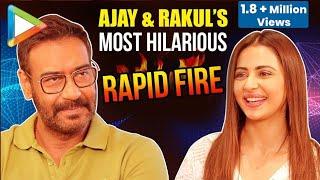 Download LOL: Ajay Devgn & Rakul's CRAZY Rapid Fire On Akshay Kumar, Saif-Kareena, Live In, Casanova Video
