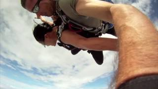 Download Near death airplane collision with skydiver in free fall Video