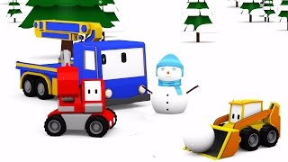 Download Snowman and giant sledge slide - Learn with Tiny Trucks: bulldozer, crane, excavator , Educa Video