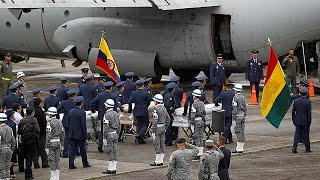 Download Colombia plane crash bodies flown home to Brazil and Bolivia Video