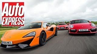 Download McLaren 570S vs Audi R8 V10 Plus vs Porsche 911 Turbo S: supercar track battle! Video