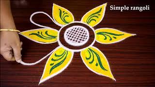 Download Most Beautiful nd Simple Freehand flower rangoli design | Flower Kolam art design without dots Video