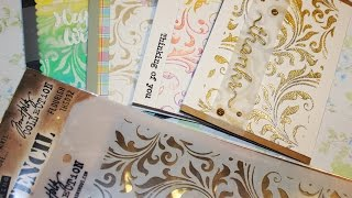 Download 4 cards using one stencil by Tim Holtz and embossing paste Video