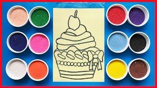 Download Đồ chơi trẻ em TÔ MÀU TRANH CÁT BÁNH CUPCAKE - Learn color, Sand Painting (Chim Xinh) Video