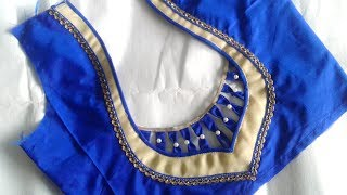 Download simple and beautiful designer saree blouse design cutting and stitching Video