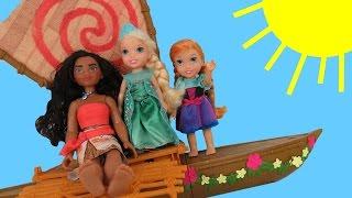 Download MOANA meets queen ELSA ! Anna & Elsa toddlers SAIL on Moana's boat - Ocean - Waves Video