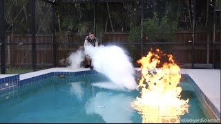 Download Pouring Liquid Nitrogen in a Pool - (I set my pool on fire!!) Video