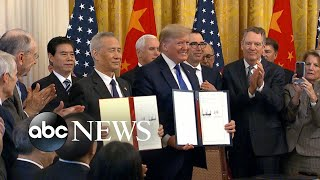 Download Trump signs partial trade deal with China l ABC News Video