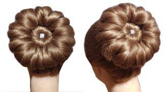 Download 5 मिनट में घर पर ही बनाये 🙏 wedding Bun शादी पार्टी के लिए जुड़ा 🙏 Beautiful Bun Hairstyle Video
