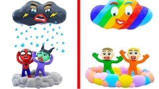 Download SUPERHERO BABY MAKES RAINBOW CLOUD COLORS 💖 Animation Cartoons Play Doh Video